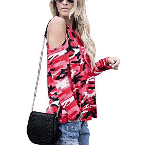 Gillberry 2018 Women Off Shoulder CamouflageLong Sleeve Blouse Tops T-Shirt (Hot Pink-, XL) -