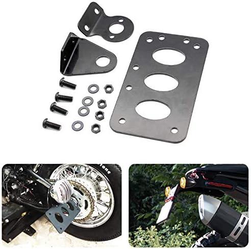 Fanuse Moto Noire Montage Lat/éRal Plaque DImmatriculation Support Bobber Chopper Convient pour Sportster Lumi/èRe Stop Cb750 Xs650 Feu Arri/èRe