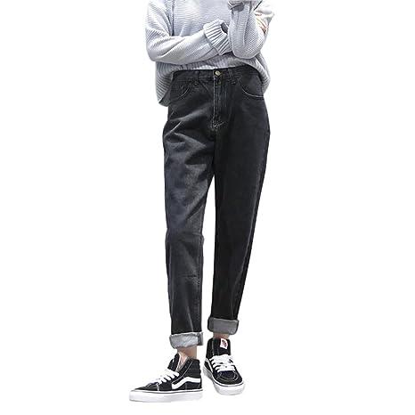 400c95cd2b65 TSINYG Pantaloni diritti sottili neri sottili Jeans allentati alla moda  femminile ( Colore : Nero ,