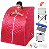 AW Portable Large Chair Red Personal Therapeutic Steam Sauna SPA Slim Detox Weight