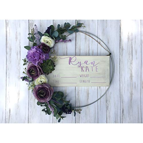 Hospital Door Hanger - Purple Floral - Lilac - Baby Girl - Shabby Chic