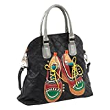 Nicole Lee Tori Patchwork Oxfords Dome Tote Bag (Black), Bags Central