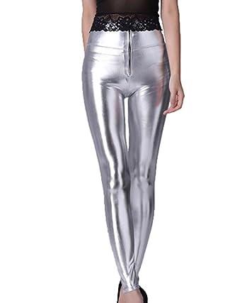 701e213701ff7 Gladiolus Femme Leggings À Taille Haute Pantyhose Pantalon Treggings  Leggings Faux Cuir Pantalon Argent Taille Unique
