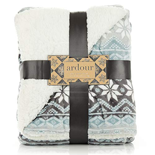 ReLive Reversible Velvet Berber Throw 50 x 60 - Grey Snowflake from ReLive