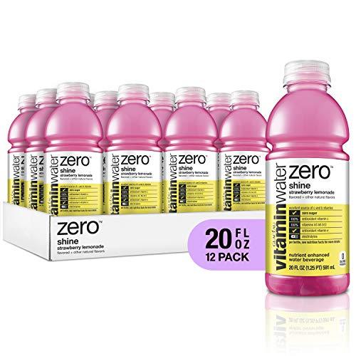 Shine Water - vitaminwater electrolyte enhanced water w/ vitamins, zero shine strawberry lemonade, 20 fl. oz (Pack of 12)