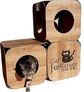 Cubo de Gato de cartón (3 Agujeros) Efecto Madera: Amazon.es ...