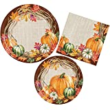 Fall Pumpkin Harvest Party Supply Pack - Harvest Wreath Design - Autumn Party Kit Includes Paper Plates and Napkins for 8 Guests