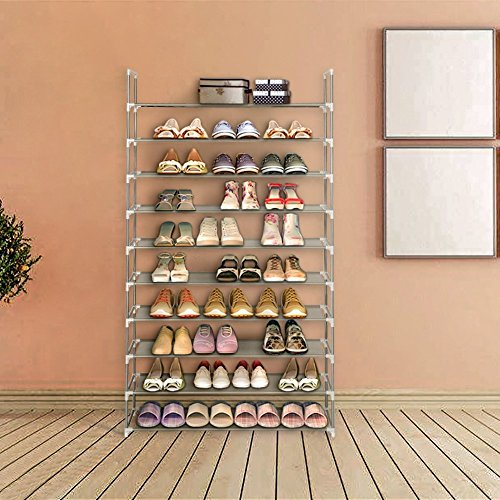 Blissun 10 Tiers Shoe Rack Non-woven Fabric Shoe Storage Organizer Cabinet Tower (Grey)