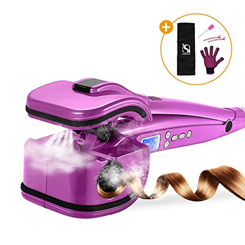 Automatic Curling Iron by Natalie Styx - Professional Ceramic Curl Machine with LCD Display,Dual Voltage, Spray Steam Function -Achieve Beautiful Style & Shine (Purple)