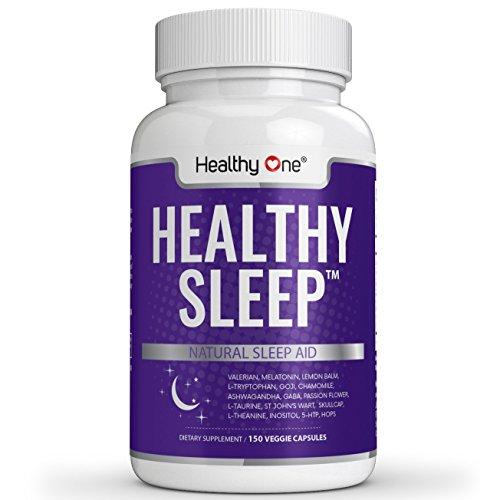 (Healthy Sleep All-Natural Sleep Aid - Fall Asleep Quickly, Get Restful Sleep, Wake Up Energized | 60 Vegan Capsules | Herbal Supplement with Melatonin, Valerian, Chamomile)