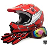 HHH DOT Youth & Kids Helmet for Dirtbike ATV Motocross MX Offroad Motorcyle Street bike Red Net, Red Flame + WITH FREE GLOVES AND GOOGLES (Small, Red Net)