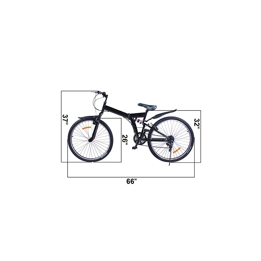 "OrangeA 26"" Folding 6/7 Speed Mountain Bike Bicycle Shimano School Sport Shimano Carbon Steel Folding Suspension Folding Bike"