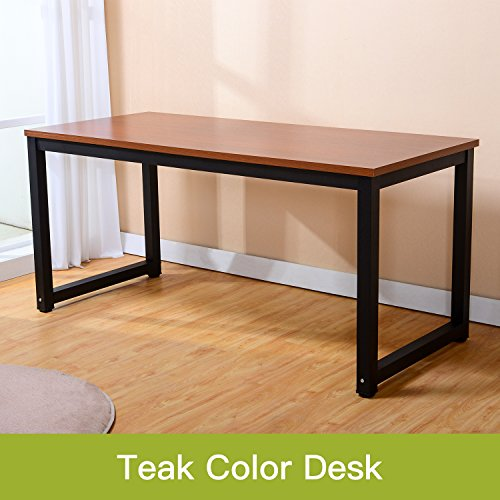 Modern Simple Style Computer Desk PC Laptop Study Table Office Desk Workstation for Home Office, Teak,  (Black Leg L55.1 X W23.6 X H29.1 Inch) by juweixin