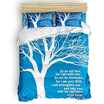 Image of Bedding Set 4 Piece Duvet Cover Set- King Size Ultra Soft Quilt Cover With Zipper Closure (1 Comforter Cover + 1 Flat sheet + 2 Pillow Shams)- Christian Bible Verses So Do Not Fear, For I Am You Home and Kitchen