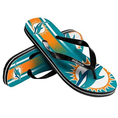 NFL Football Unisex Gradient Big Logo Beach Summer Flip Flop Sandals - Pick Team (Miami Dolphins, X-Small) Team Beach Ball
