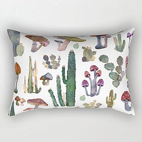 Cactus y setas nuevo. Rectángulo fundas de cojín 40 x 60 cm ...