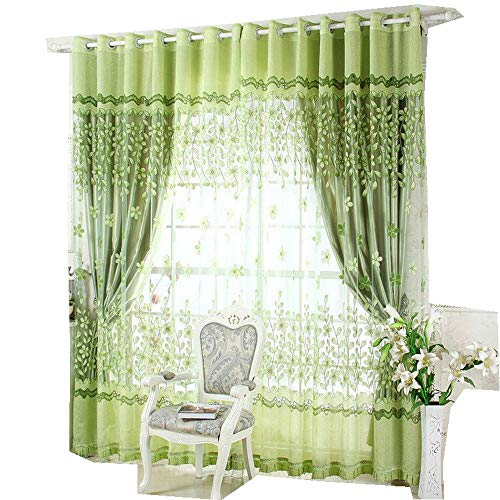 bigmum Luxury Curtains and Tulle for Living Room Beaded Sheer Curtains and Blackout Curtains for Window Treatment 4panels/Set Including 2 Curtains and 2 Tulles (59'' W x 98'' L, Green) -