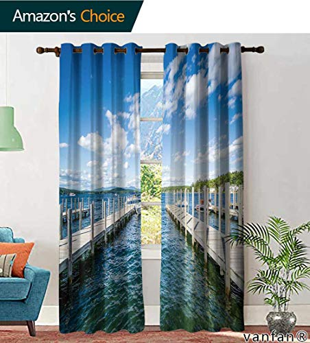 LQQBSTORAGE Custom Pattern Curtains Light Blocking Docks Along Lake Winnipesaukee in Weirs Beach, Laconia, Curtains Kids Room, W84 x L96 Inch, (2 Panels)
