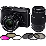 Fujifilm X-E3 Mirrorless Camera with XF18-55mm + 80mm F2.8 R LM OIS WR Lens + Filter Kit + Focus Gadget Bag