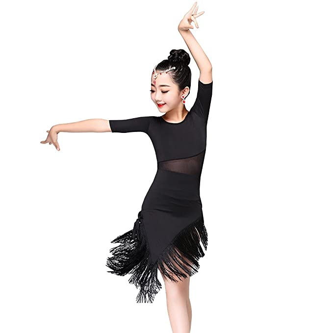 8ece5d38be072 BOZEVON Girls Dance Clothes Tassel Hem Latin Dance Dress Exercise  Performances Competition Costume, Black/