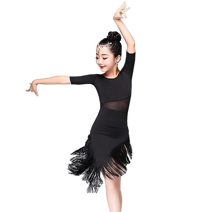 49118525d Amazon.com  XFentech Kids Girls Dance Clothes Tassel Hem Latin Dance ...