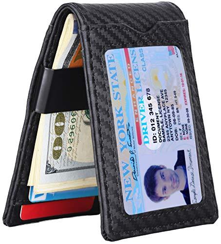 Slim Wallet with Money Clip RFID Blocking Minimalist Bifold Wallet for Men Genuine Leather Front Pocket Card Holder