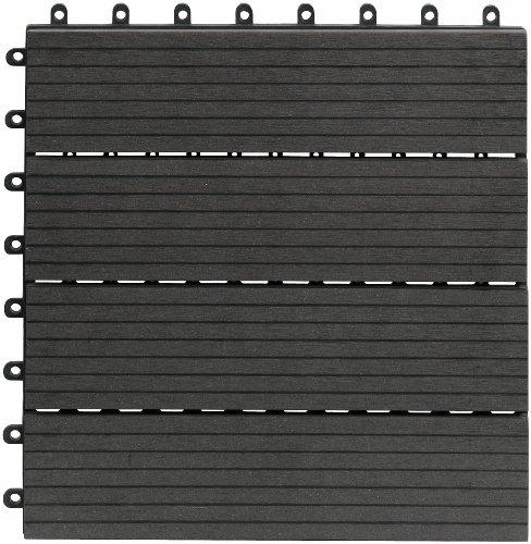 EVERFLOOR WPC(Bambusholz/Kunststoff) Terrassenfliesen Bodenfliese 10er-Set (ca. 0,9 m2), 30 x 30 cm, dunkelgrau, leicht verlegbar, wetterfest