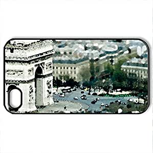 lintao diy Arc de Triomphe - Case Cover for iPhone 4 and 4s (Monuments Series, Watercolor style, Black)