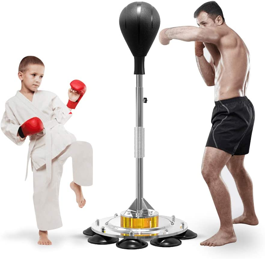 Echaprey Heavy Punching Bag/Speed Boxing Bags with Adjustable Height Stand Durable Spring Withstands Tough Hits for Kids Adults