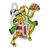 14K Yellow Gold Plated Fn Simulated Diamond Studded Religious ''Lord Hanuman'' Pendant Necklace With Chain