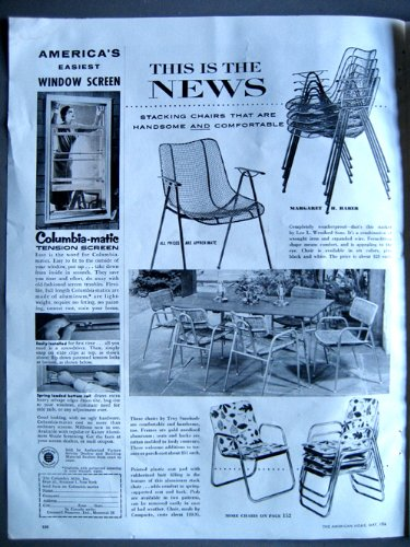 1956 Original Stacking Chair Ad Wrought Iron and Wire (Iron Century Furniture Wrought Patio Mid)