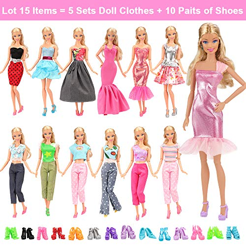(BARWA Lot 15 Items 5 Sets Fashion Casual Wear Clothes Outfit Handmade Party Dress with 10 Pair Shoes for 11.5 Inch Girl Doll Birthday Xmas)