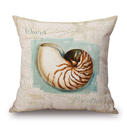 "Price comparison product image Happy Cool Cotton Linen Square Mediterranean Sea Decorative Throw Pillow Cushion Cover 18""x 18"" Conch"