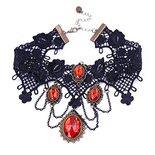 Eternity J. Vintage Princess Lolita Lace Victorian Necklace Edwardian Vampire Gothic Choker Pendant (Red)