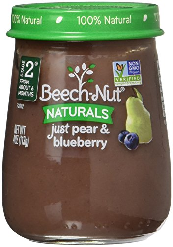 Beech-Nut Stage 2 Baby Food, Just Pear/Blueberry, 4.0 Ounce (Pack of 10) ()