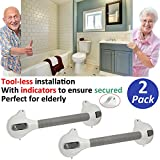 AmeriLuck Bath and Shower Suction Grab/Grip Bar with Indicator Shower Handle for Bathroom - Medical Assist Balance Hand Rail for Tub Safety - for Elderly/Seniors/Handicap (16.5in | 2 Pack)