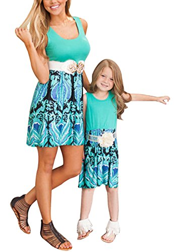 OMZIN Mommy and Me Sleeve Boho Chevron Dresses Matching Clothes Green S