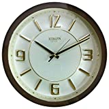 Rikon Quartz Wooden Finish Plastic Round Shape Golden Embossed Number Silent Movement Wall Clock (31 cm x 31 cm, Brown Ivory) R 21
