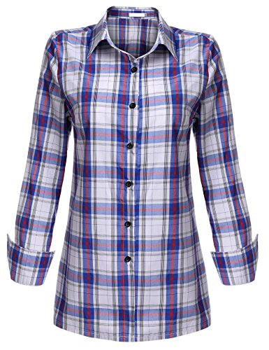 ELESOL Women's Fashion Casual Style Comfy Loose Fit Long Sleeve Cotton Red Plaid Flannel Dress Shirt Blouse