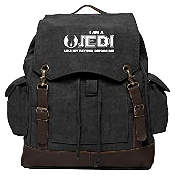 Star Wars Quote Luke Skywalker Rucksack Backpack with Leather Straps, Black & Wh