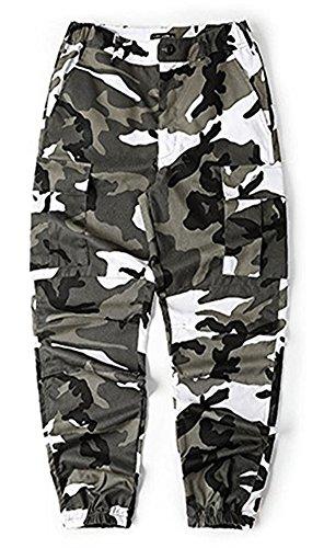LifeShe Men's Casual Slim Fit Camo Jogger Cargo Pant (M, Camo Gray)