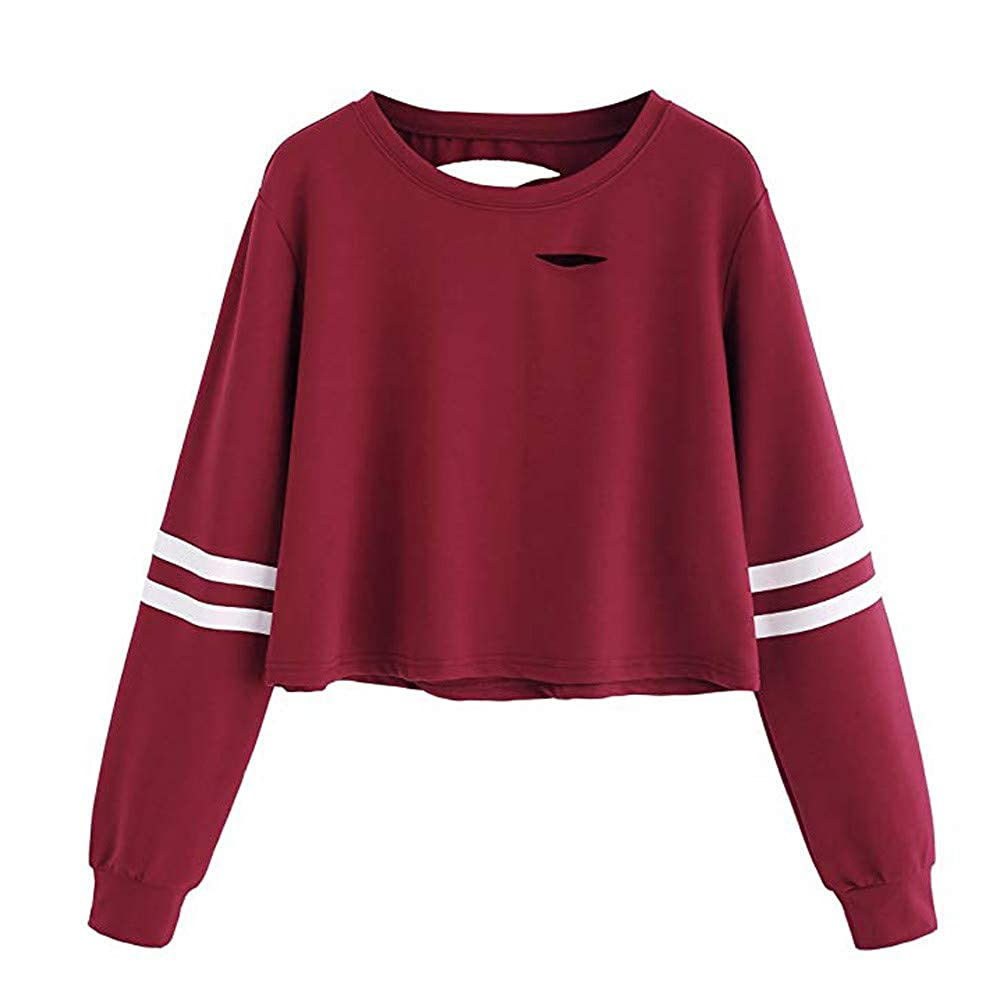 Yvelands Damen Tops Täglich Casual Loch Langarm Solid Sweatshirt Pullover Tops Bluse