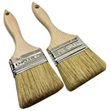 2 Pack - 2.5 Inch and 3 Inch Professional Paint Brushes - Natural Bristle\Wood Handle; For Professional & Amateur Paint Job, Oil Stain, Wax, Varnish, Glue and etc.