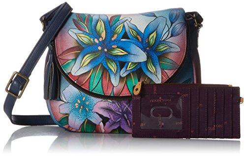 Lilies Denim Medium Flap Shoulder Bag Anuschka Convertible Luscious Over Zv8Oxdv0wq
