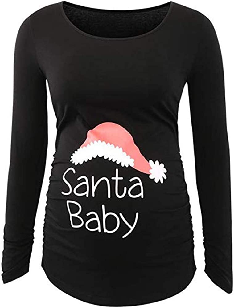 Pregnant Tops,Santa Baby Letters Printed Maternity Blouse Side Ruched Long Sleeve Nursing Clothes Merry Christmas