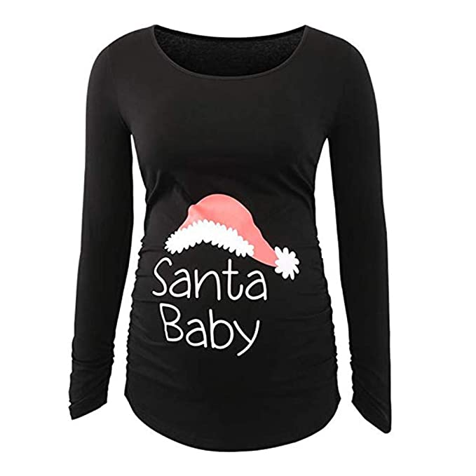 Maternity Christmas Shirt.Pregnancy Christmas Clothes Women Xmas Print T Shirt Side Ruched Long Sleeve Maternity Tunic Tops Blouse