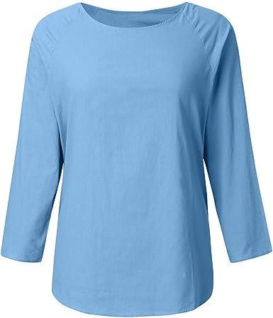 FELZ Blusa de Manga Larga para Mujer Verano Camisetas de algodón y ...