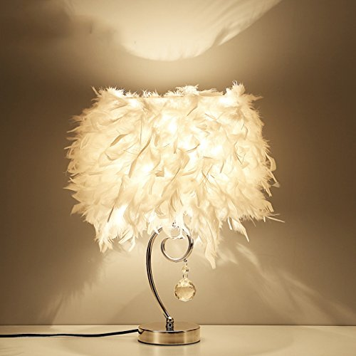 Feather table lamp Modern Minimalist Bedroom lamp Bedside Fashion Crystal Iron Romantic Living Room Lamps Nordic