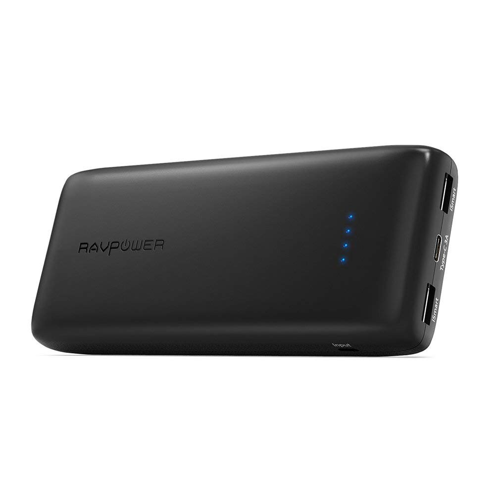 Updated USB C Portable Battery 22000 RAVPower 22000mAh 5V/3A Type-C Port Portable Charger (2.4A Input, Total 6A Output Power Bank) Battery Pack for Galaxy S8, Google Pixel, Mate 9, Lumia and More TaoTronics US-RP-PB009-003