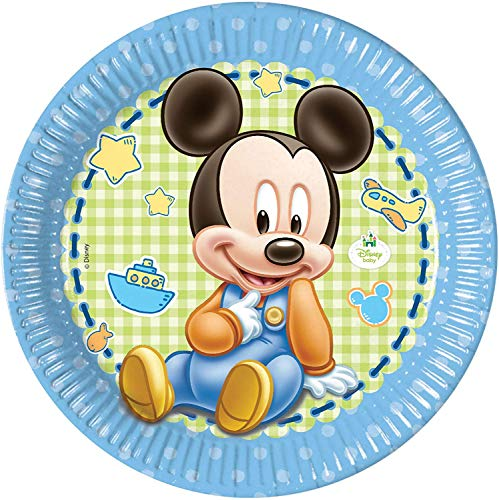 23cm Baby Mickey Mouse Party Plates, Pack Of 8 -